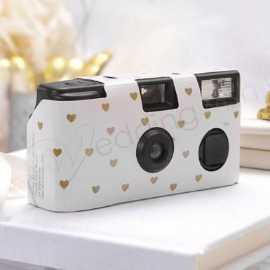 Wedding Single Use Camera - Ivory and Gold Hearts Design - Wedding Wish Image 1