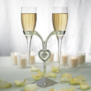 Wedding Clear Glass Flutes with Silver Plated Stand - Wedding Wish Image 1