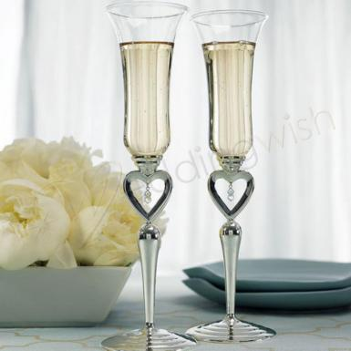 Wedding  Silver Plated Open Heart & Jewel Drop Stem Champagne Flutes Image 1
