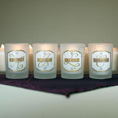 "Wedding  ""Love Set"" Glass Votive Candle Holders Matte Gold - 4 pieces Image 1"