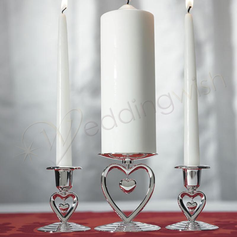 Wedding Suspended Heart Unity Taper Holders Suspended Heart Unity Candle Holder Wedding Wish Image