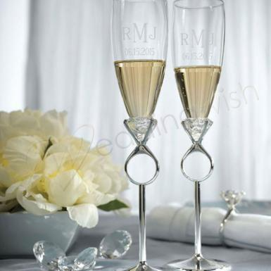Wedding  Diamond Ring Champagne Flutes Image 1