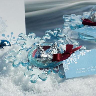 Wedding  Snowflake Candle Holders Glacier Blue or Frosted x 2 Image 1