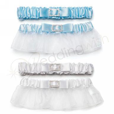 Wedding  Classic Garters with Buckle Bridal White Image 1