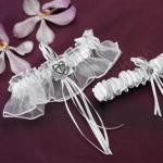 Classic Double Heart Two Piece Bridal Garter Set White or Ivory image