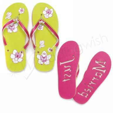 "Wedding Tropical Orchid ""Just Married"" Flip Flop Sandals - Wedding Wish Image 1"