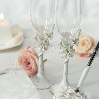 Wedding  Sculptural White Tiger Lilies Toasting Set Image 1