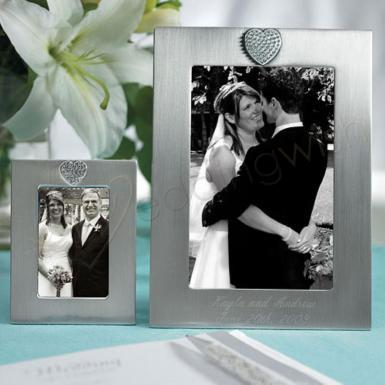 Wedding  Small Photo Frame with Brushed Silver & Crystals in Heart Shape Image 1