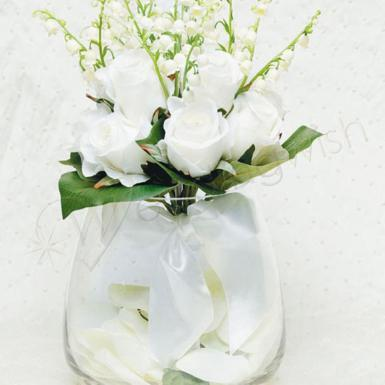 Wedding White Rose & Lily of the Valley Bridal Nosegay Bouquet - Wedding Wish Image 1