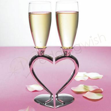 Wedding Silver Plated Interlocking Heart Stems with Glass Flutes - Wedding Wish Image 1