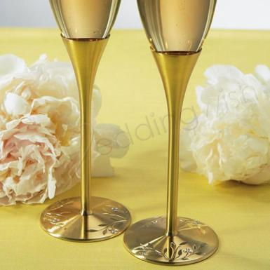 Wedding Venice Gold Toasting Flutes - Wedding Wish Image 1