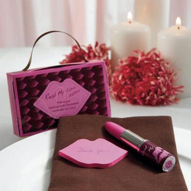 "Wedding ""Read My Lips"" Lipstick Pen and Sticky Notes with Gift Packaging - Wedding Wish Image 1"