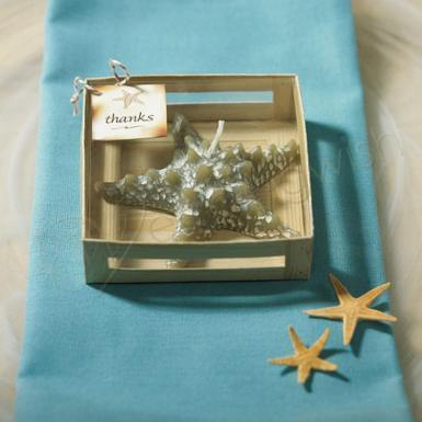 Wedding Miniature Starfish Candle in Gift Packaging Favor - Wedding Wish Image 1