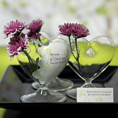 Wedding Miniature Clear Blown Glass Heart Vase - Wedding Wish Image 1