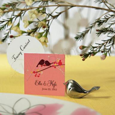 Wedding Love Bird Card Holders with Brushed Silver Finish - Wedding Wish Image 1