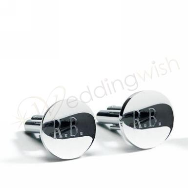 Wedding Classic Round Cufflinks in Shiny Silver Plating - One Pair - Wedding Wish Image 1