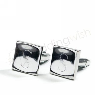 Wedding Classic Square Cufflinks in Shiny Silver Plating - One Pair - Wedding Wish Image 1