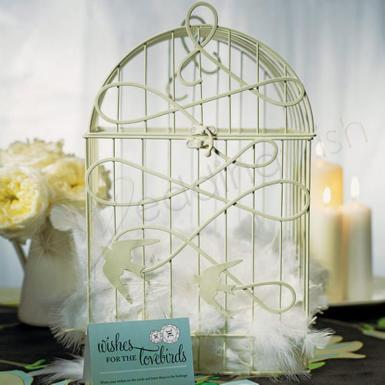 Wedding Modern Decorative Birdcage with Birds in Flight - Wedding Wish Image 1
