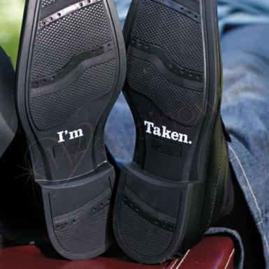"Wedding I'm Taken ""Shoe Talk"" Stick on Decals for Shoes - Wedding Wish Image 1"