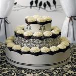 Grand Display Tower for Cupcakes - Love Bird Damask image