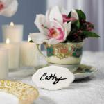 White Glazed Ceramic Reusable Place Marker image