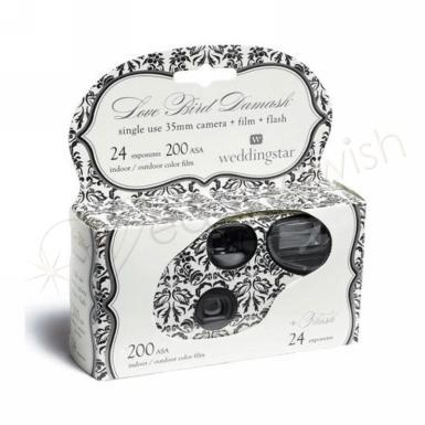 Wedding Single Use Camera - Love Bird Damask Design - Wedding Wish Image 1