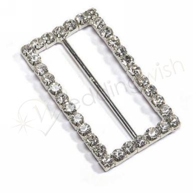 Wedding  Large Rectangular Crystal Buckle Image 1