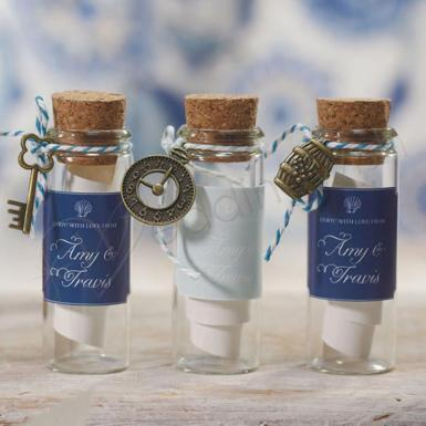 Wedding Mini Clear Glass Bottle with Cork x 6 - Wedding Wish Image 1