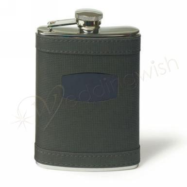 Wedding Stainless Flask Wrapped in Charcoal Grey Faux Leather - Wedding Wish Image 1