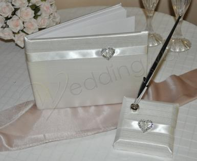 Wedding  Satin Guest Book with Heart Image 1