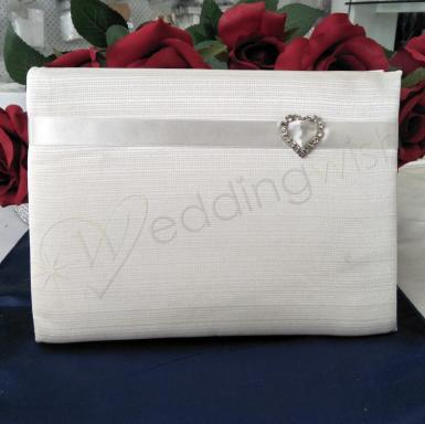 Wedding Guest Book - Ivory Satin Guest with Diamante Heart - Wedding Wish Image 1