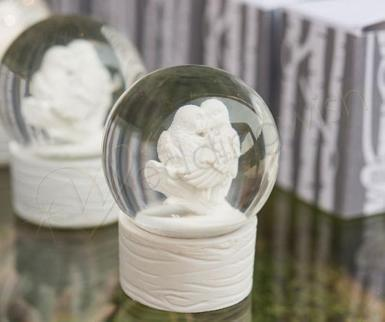 Wedding Miniature Love Bird Snowglobes White x 6 - Wedding Wish Image 1