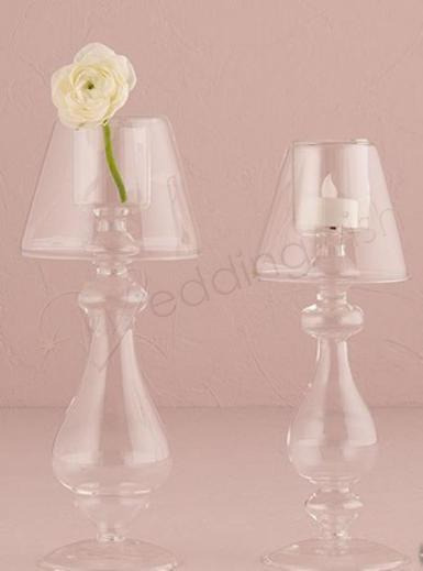 Wedding Blown Glass Votive Candle Holder with Lamp Silhouette Tall - Wedding Wish Image 1