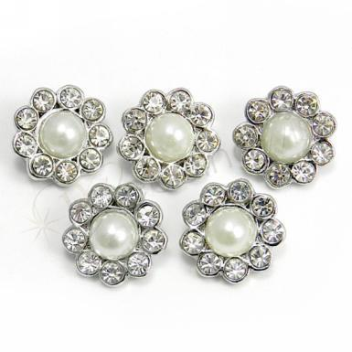 Wedding Pearl and Diamante Flower Buckles x 5 - Wedding Wish Image 1