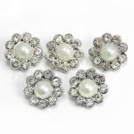 Pearl and Diamante Flower Buckles x 5 image