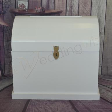 Wedding Large White Wooden Treasure Chest - HIRE - Wedding Wish Image 1