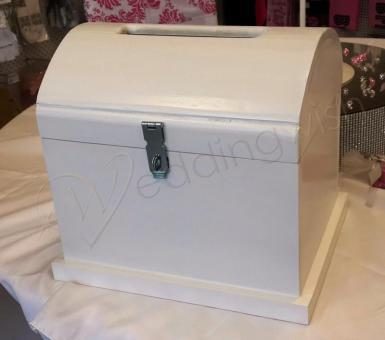 Wedding Small White Wooden Treasure Chest - HIRE - Wedding Wish Image 1