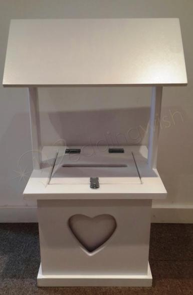 Wedding Meg White Timber Wishing Well with Heart Detail - HIRE - Wedding Wish Image 1