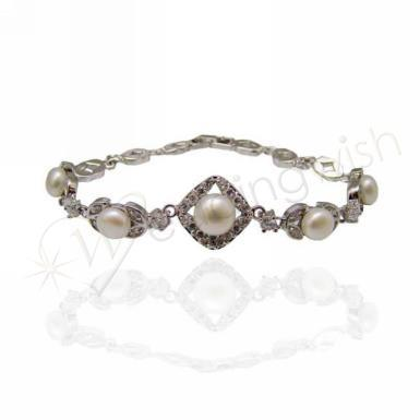 Wedding Vintage Inspired Fresh Water Pearl Bracelet - Wedding Wish Image 1