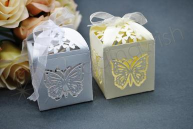 Wedding Butterfly Laser Cut Bomboniere Boxes x 20 - Ivory or White - Wedding Wish Image 1