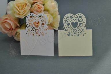 Wedding Heart Laser Cut Placecards Tent Fold x 20 - Wedding Wish Image 1