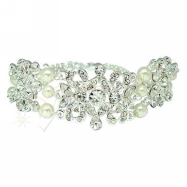 Wedding Silver Faux Pearl and Diamante Bracelet - Wedding Wish Image 1