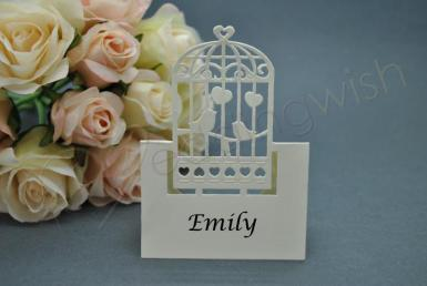 Wedding Love Birds Laser Cut Place Cards x 20 - Ivory or White - Wedding Wish Image 1