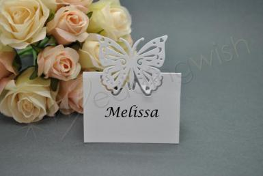 Wedding Butterfly Laser Cut Place Cards x 20 - Ivory or White - Wedding Wish Image 1