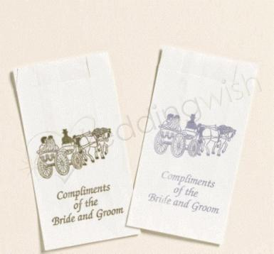 Wedding Silver or Gold Carriage Cake Bags x 25 - Wedding Wish Image 1