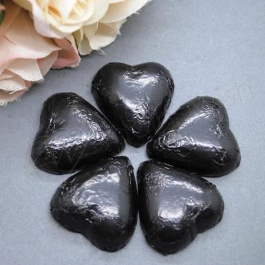 Wedding Black Heart Shaped Chocolates x 100 - Wedding Wish Image 1