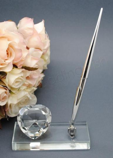Wedding Glass Pen Stand with Heart - Wedding Wish Image 1