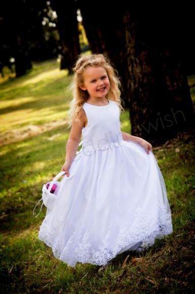 Wedding  Long Flower Girl Dress with Beaded Lace Trim - Ivory or White Image 1