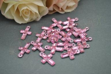 Wedding  Cross Charms - Acrylic Pink, Blue or Clear Image 1