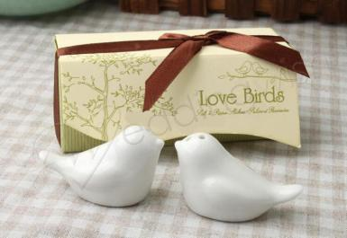 Wedding Love Birds In the Window Ceramic Salt and Pepper Shakers - Wedding Wish Image 1